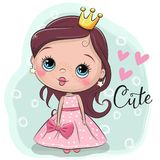 Fairy tale Princess on a blue background. Greeting Card with Cute Cartoon fairy tale Princess on a bluebackground vector illustration