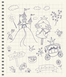 Fairy Tale Princess. Hand drawn fairy tale princess doodle design elements set on checkered notebook page background. Vector illustration Stock Photos