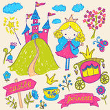 Fairy Tale Princess. Hand-drawn sketchy fairy tale princess doodle design elements set. Vector illustration Royalty Free Stock Images