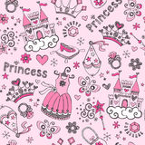 Fairy Tale Princess Pattern Sketchy Doodles Vector. Fairy Tale Princess Tiara Seamless Pattern- Hand-Drawn Notebook Doodle Design Elements Set Illustration Royalty Free Stock Images