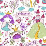Fairy Tale Princess seamless pattern Royalty Free Stock Image