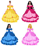 Fairy tale princesses. Vector collection of fairytale princesses isolated on a white background Stock Images