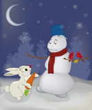 Fairy tale about a rabbit and a snowball Stock Photo