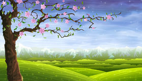 Fairy-tale rolling landscape and a blooming tree stock illustration