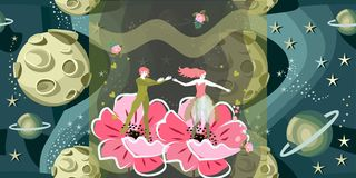 Fairy tale about romantic couple. Beautiful prince and princess - fairies of flowers - in magic space.  vector illustration