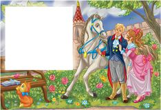 Fairy tale romantic couple in a garden. Fairy tale colorful cartoon illustration with template for the text Stock Photo