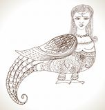 Fairy tale Russian fantastic woman bird Royalty Free Stock Images