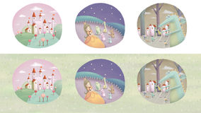Fairy tale scenes. Lovely illustration in hand drawn style Royalty Free Stock Photography