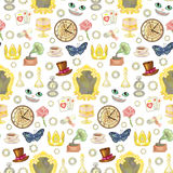 Fairy Tale Seamless Pattern. Seamless pattern with fairy tale elements on white background. Vector illustration of wallpaper with wonderland objects Stock Photo