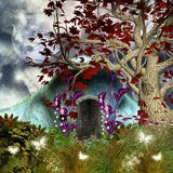Fairy tale series - Enchanted fairy house by night. Enchanted fairy house by night Royalty Free Stock Images