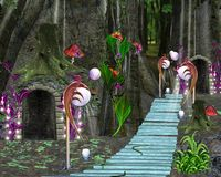 Fairy tale series - fantasy forest and fairy house. An enchanted illustration with pathway and houses in the middle of the forest Stock Photos