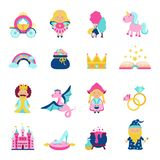 Fairy Tale Set. Fairy tale characters and symbols set with magic book wand dragon unicorn isolated vector illustration Royalty Free Stock Photography