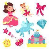 Fairy tale set, little princess and fairy with unicorn, castle and magic elements vector Illustrations Stock Photos