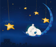 Fairy tale about a small hedgehog. White hedgehog sleeping on the moon against a night city Stock Photo