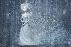 Fairy tale snow queen in magic forrest. Beautiful young woman. Fairy tale snow queen in silver dress and crown with staff in magic forest. Copy space Stock Photos