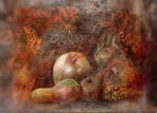 Fairy tale still life with squirrel and autumn fruits on abstract background Royalty Free Stock Images