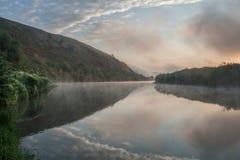 Fairy-tale sunrise at the river Stock Photo