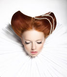 Fairy Tale. Theatre. Fancy Woman in Medieval Frill - Fantastic Retro Hairstyle. Fantasy. Fairytale. Theater. Woman in Retro Frill - Fantastic Retro Hair style stock image