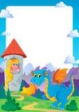 Fairy tale theme frame 2. Vector illustration Royalty Free Stock Photo
