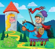 Fairy tale theme knight and princess. Eps10 vector illustration Royalty Free Stock Photography