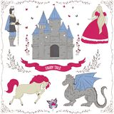 Fairy tale theme. Prince, princess, castle, dragon, fairy, horse. Collection of decorative design elements. Royalty Free Stock Image