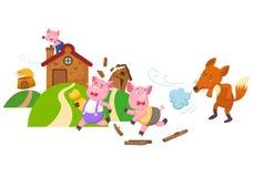 Fairy tale three little pigs. Illustration of isolated fairy tale three little pigs Stock Photos