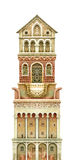 Fairy-tale tower isolated on white. Watercolour graphic artwork Stock Photo