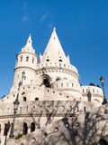 Fairy tale towers of Fisherman`s Bastion on a lookout terrace in Budapest Stock Image