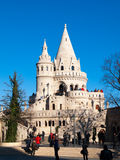 Fairy tale towers of Fisherman`s Bastion on a lookout terrace in Budapest Stock Images