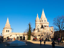 Fairy tale towers of Fisherman`s Bastion on a lookout terrace in Budapest Royalty Free Stock Photos