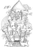 Fairy tale town doodle castile for coloring book for adult Royalty Free Stock Image