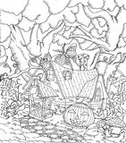 Fairy tale town doodle castile for coloring book for adult Stock Image