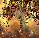 Fairy tale tree. Magic illustration with a fantasy tree, gold sunset and butterflies Stock Photography