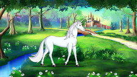 Fairy Tale Unicorn in a Magical Forest. Handmade animated  UHD motion graphic stock footage