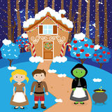 Fairy Tale Vector Scene with Hansel and Gretel, the Witch Royalty Free Stock Image
