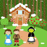 Fairy Tale Vector Scene with Hansel and Gretel, the Witch Stock Photo