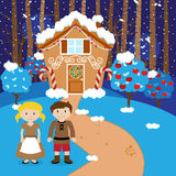 Fairy Tale Vector Scene with Hansel and Gretel, the Witch Royalty Free Stock Photos