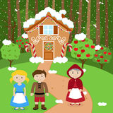 Fairy Tale Vector Scene with Hansel and Gretel, the Witch Stock Image