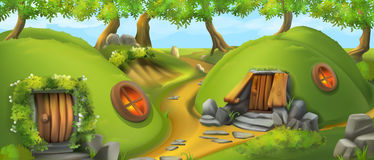 Fairy Tale Village. Leprechaun House. Landscape Vector Illustration Royalty Free Stock Photo