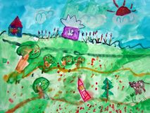 Fairy tale village painted by child. Watercolor painting of a fairy tale village with houses, trees, and a cow. Made by child Royalty Free Stock Photo