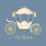 Fairy tale vintage carriage decoration royal element retro wedding coach with classic elegant accessory vector. Illustration vector illustration