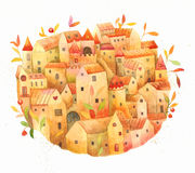 Fairy tale watercolor town Stock Images