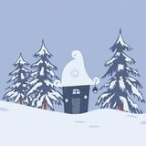 Fairy tale winter landscape with a fantastic lodge and fir trees. Fairy tale winter landscape. There is a fantastic lodge and fir trees on a blue background in Royalty Free Stock Image