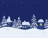 Fairy tale winter landscape. Seamless border. Fairy tale winter landscape. There are fantastic lodges and fir trees on a blue background in the picture. Seamless Stock Images