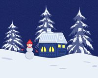 Fairy tale winter landscape. There is a fantastic lodge, fir trees and snowman on a blue background in the picture. It can be used as a design element in the Royalty Free Stock Images