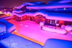 The fairy tale world of town night landscape. The photo was taken in China`s snow town Harbin city Heilongjiang province,China Stock Image