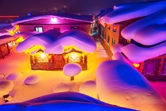 The fairy tale world of town night views. The photo was taken in China`s snow town Harbin city Heilongjiang province,China Royalty Free Stock Photo