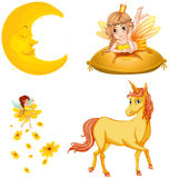 Fairy tales characters and moon. Illustration Royalty Free Stock Photos
