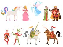 Free Fairy Tales Characters. Wizard Knight Queen King Princess Prince Medieval Fairy Castle Dragon Magic Set Cartoon, Vector Stock Photo - 149496960