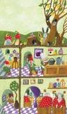 Fairy tales dwarf's underground house. Acrylic illustration of Fairy tales dwarf's underground house Stock Photos